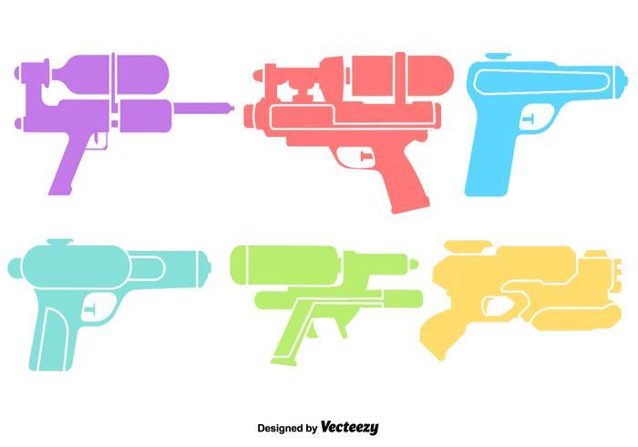 Vector Water Gun Color Icons Set