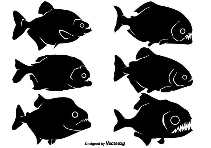 vector piranha icono conjunto