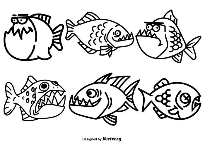 Vector Cartoon Piranha Vissen Set