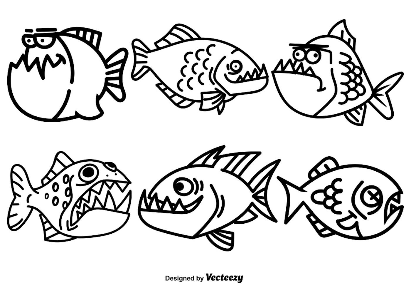 Vector de dibujos animados piraña conjunto de peces - Descargue ...