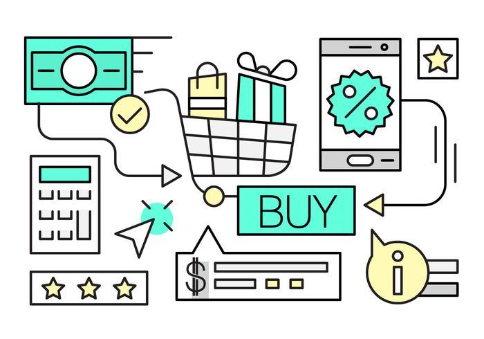 Lineär Shopping Vector Illustration