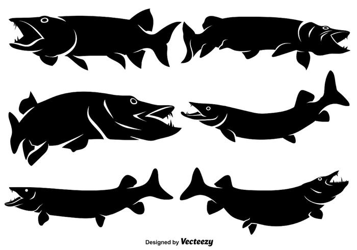 Vector Flat Muskie Icons/Silhouettes