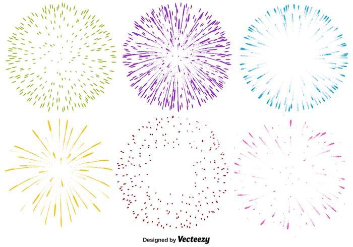 Vector Conjunto de iconos multicolores de fuegos artificiales