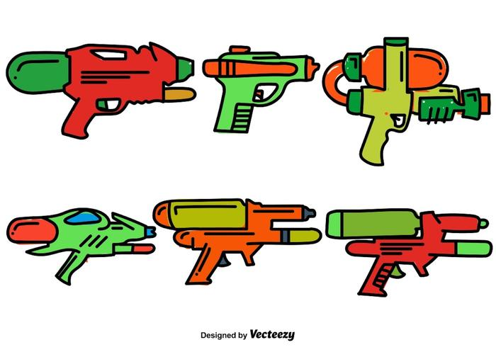 Vector Set Of Doodle Water Gun Color Icons