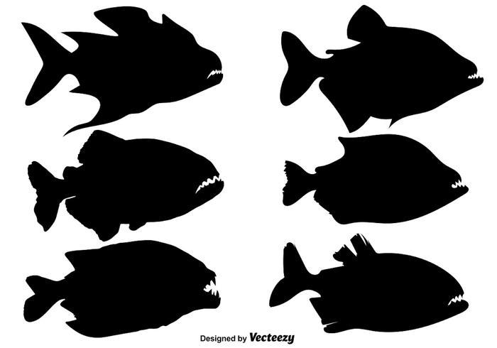 Siluette di vettore di pesce Piranha