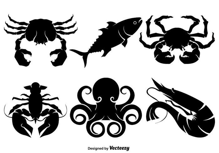 Silhouettes de vecteur de crevettes