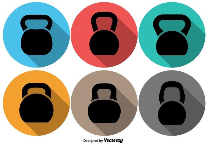 Vector Kettle Bell Icon Set On Colorful Backgrounds