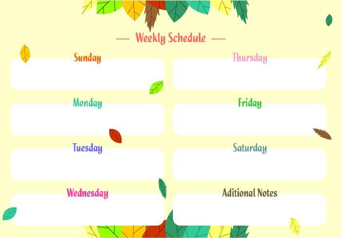 Weekly Schedule Free Vector