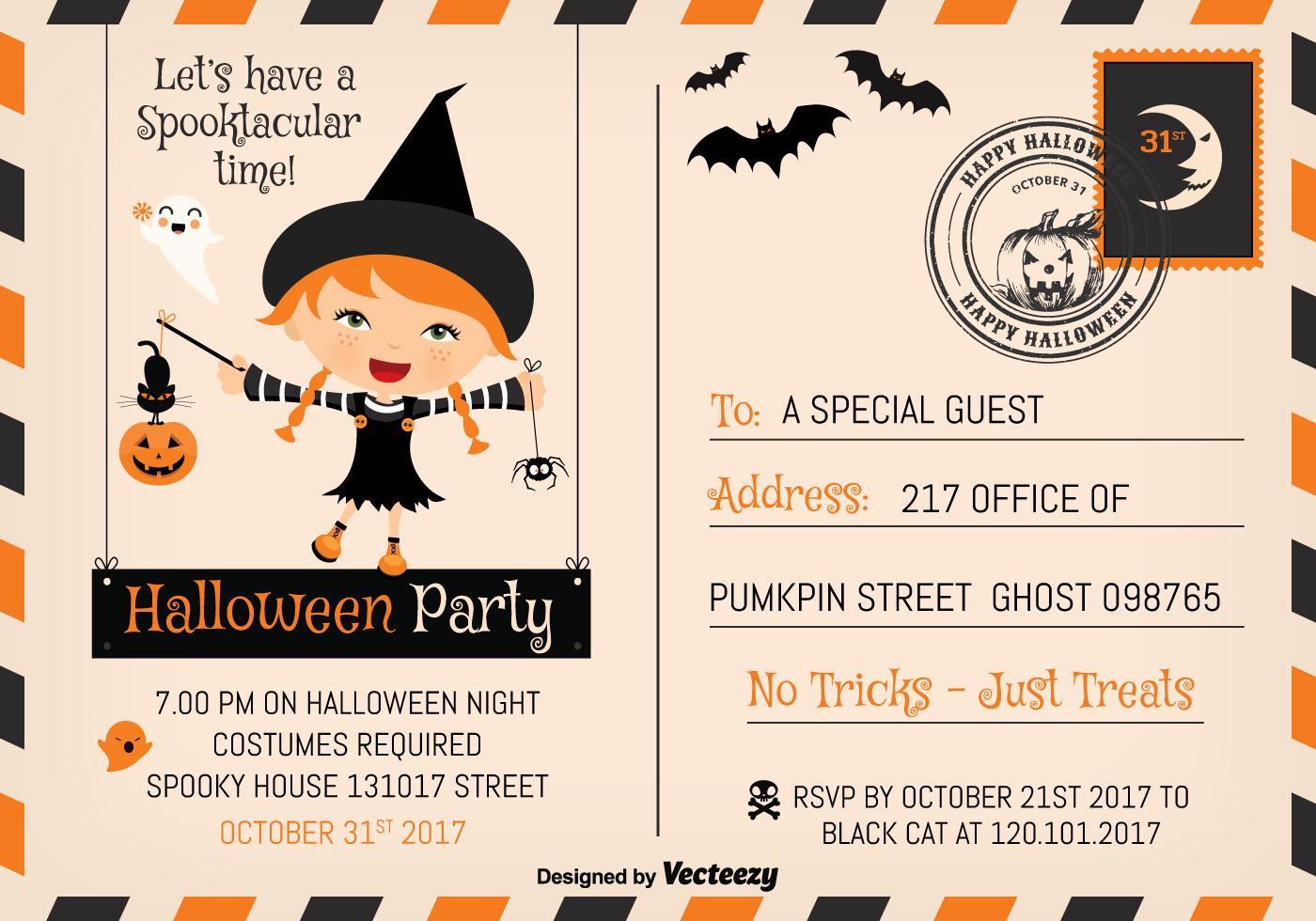 Cute Halloween Party 2017 Invitation Postcard Vector Template ...