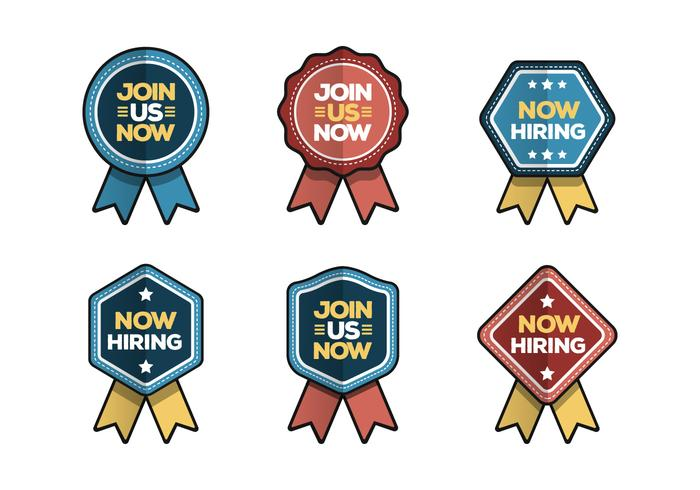 Now Hiring And Join Us Badge Vector Collection