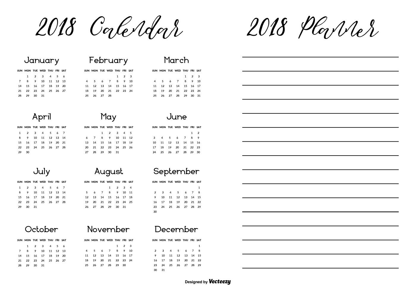 Balck and white simple printable 2018 calendar with for Planner casa gratis