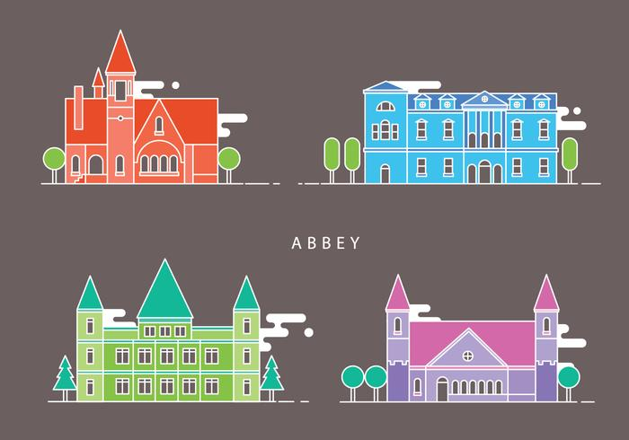 Abbey Landmark Religion Building Vector Illustration