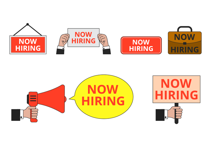 Now Hiring Sign Vector