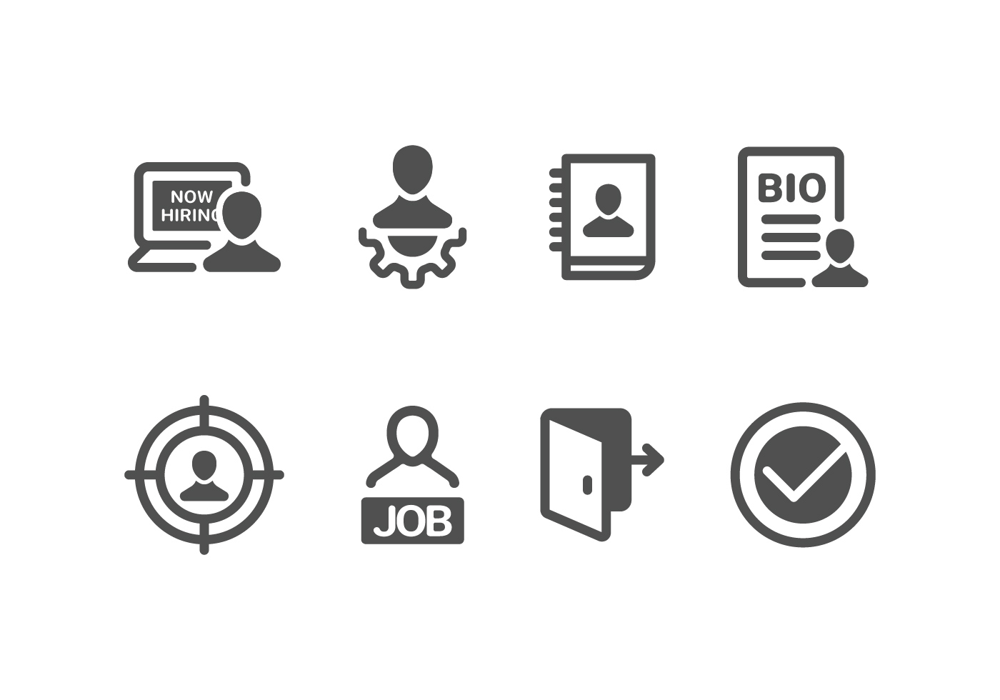 Now Hiring Amp Recruitment Set Icons Download Free Vector