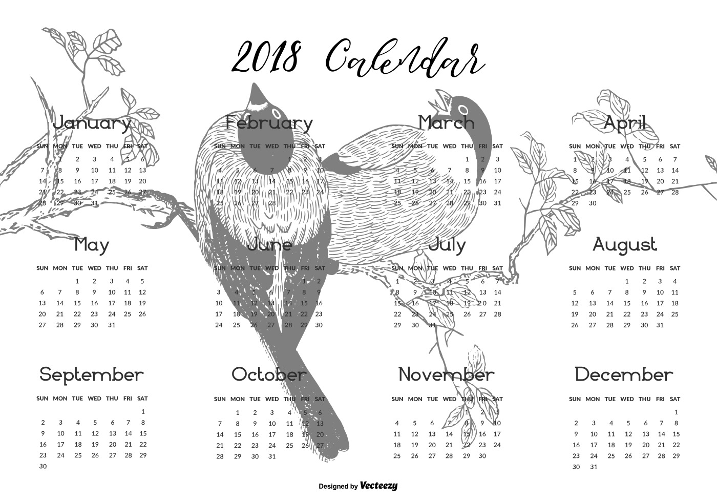 February 2018 Calendar Vintage : Beautiful printable calendar download free vector