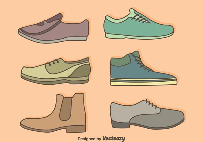Man Shoes Collection Vector