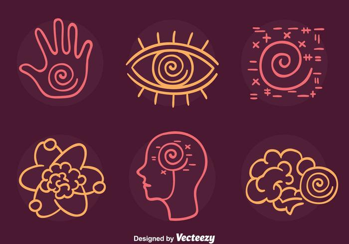 Hypnosis Element Line Icons Vector