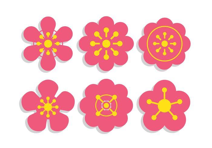 Pflaumenblütenvektorsatz