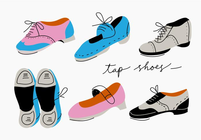 Tap Shoes Collection Vector Illustration