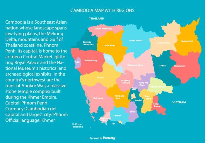 Bunte Kambodscha-Karte mit Regionen vektor