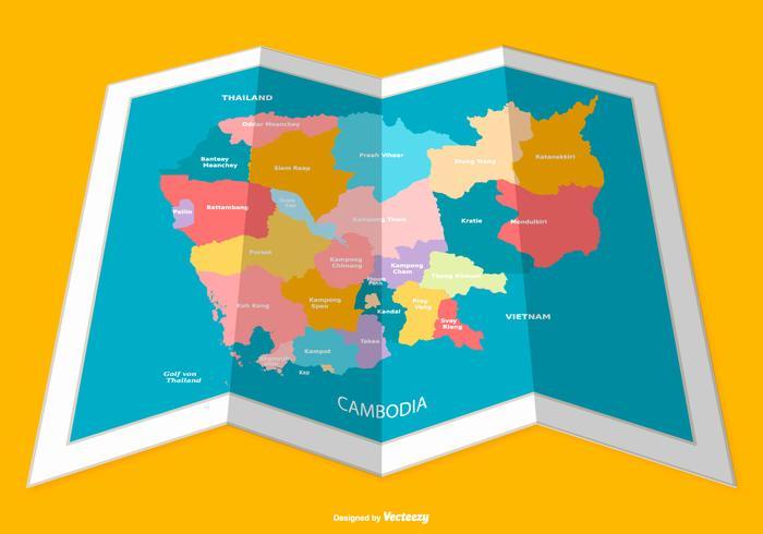 Folded Cambodia Map Illustration