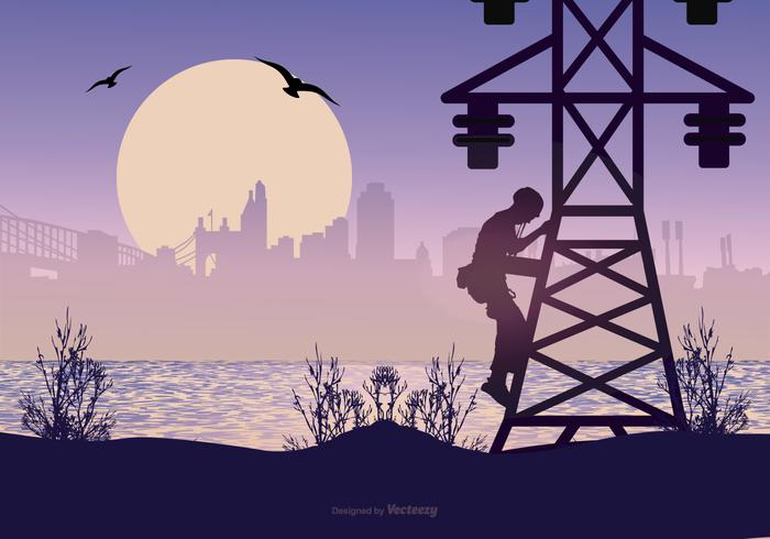 Landscape with Lineman Silhouette