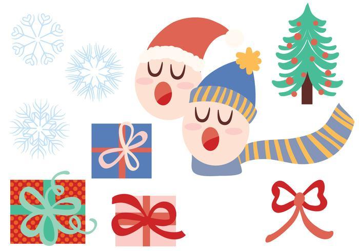 Libre Navidad Carolers Vectores