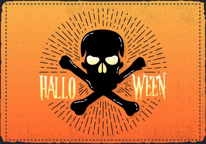 Free Vintage Halloween Skull Vector Illustration