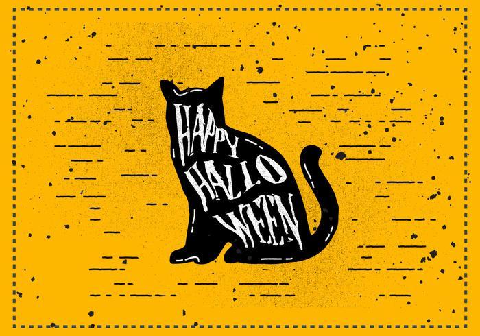 Gratis Vintage Halloween Katt Vektor Illustration