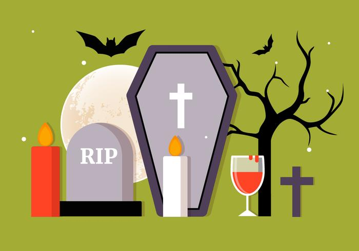 Coleção de Elementos vetoriais Flat Halloween grátis