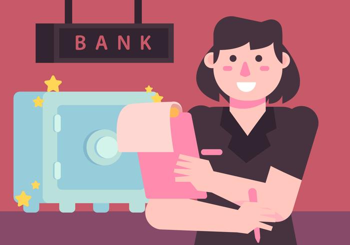 Strongbox And Bank Teller Vector