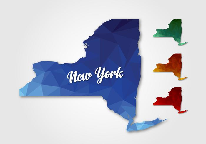 Polygonal Map Off New York vector