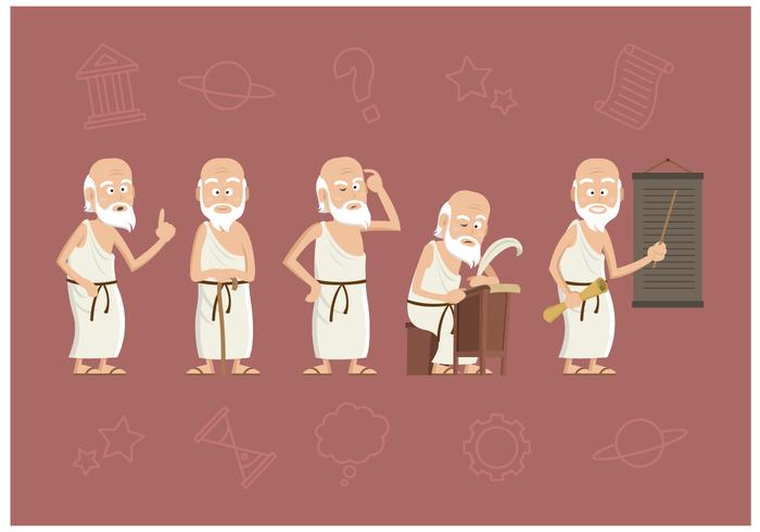 Vector libre del carácter de Sócrates