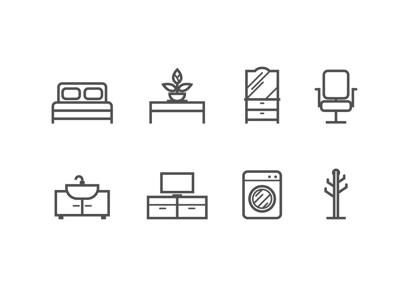 Furniture and home decoration set icons download free Home decoration vector free