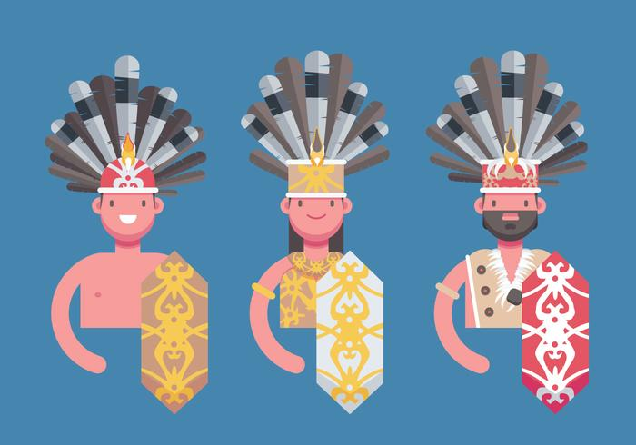 Dayak Borneo Etnic People Flat Vector Illustration