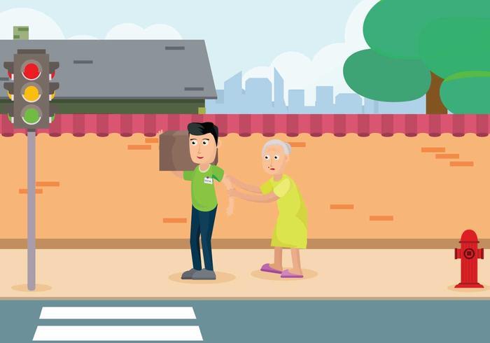 Caretaker gratis con mujer en la carretera ilustración