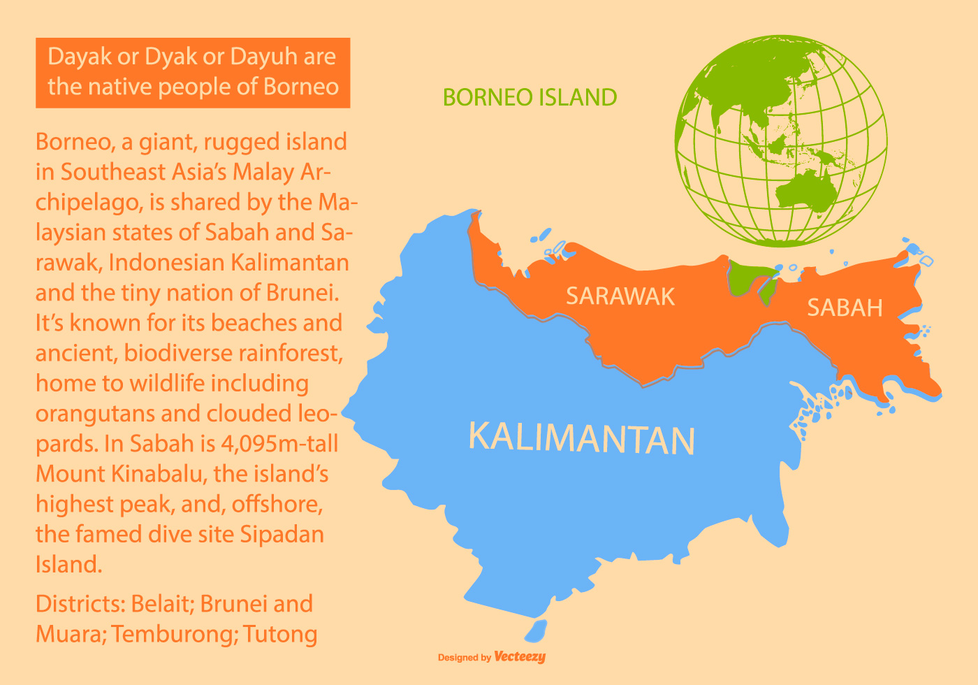 Image of: Colorful Borneo Island Map Download Free Vectors Clipart Graphics Vector Art