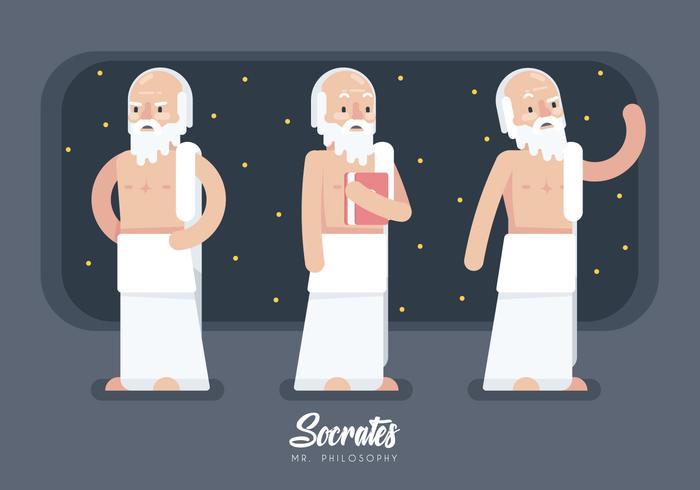 Socrates Character Cartoon Flat Vector Illustration
