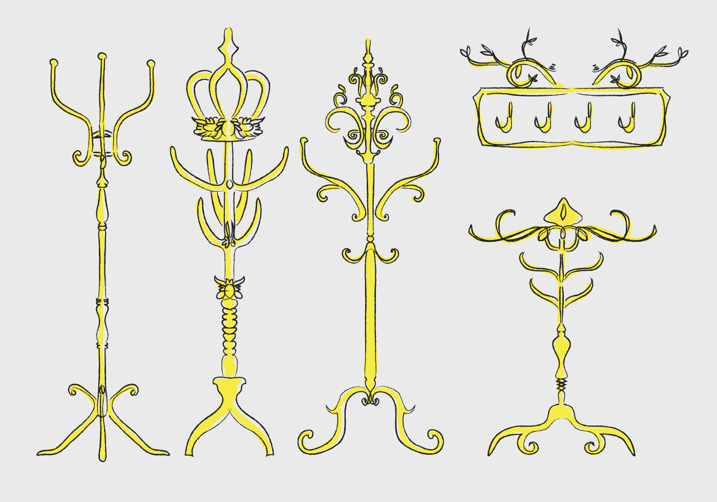 Gold Ornamental Coat Stand Hand Drawn Vector Download