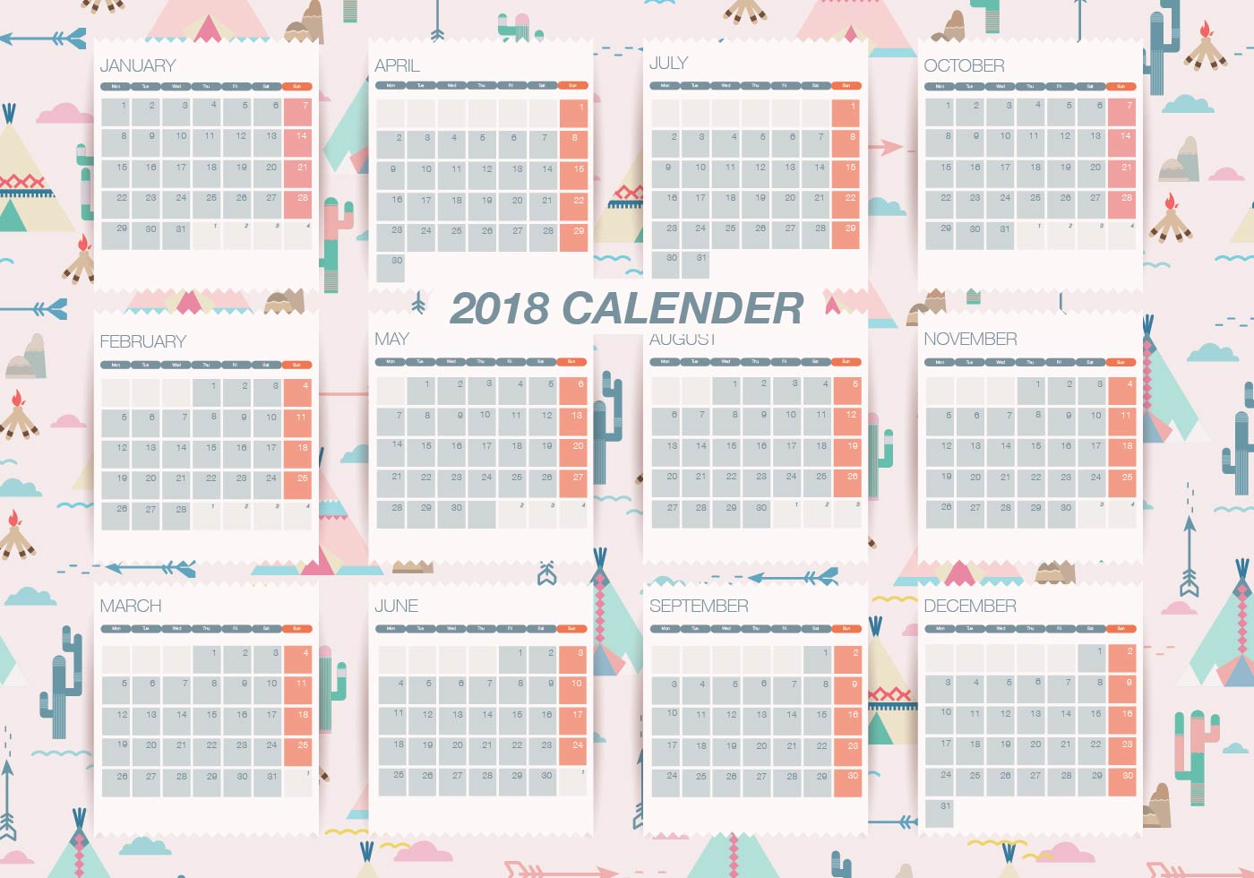 Weekly Calendar Vector : Pattern background printable monthly calendar vector