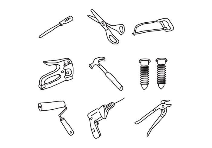 Doodles d'outils de bricolage
