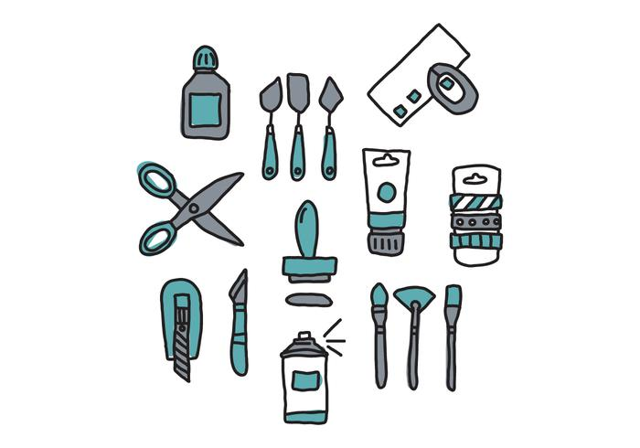Doodled Blue Craft Tools