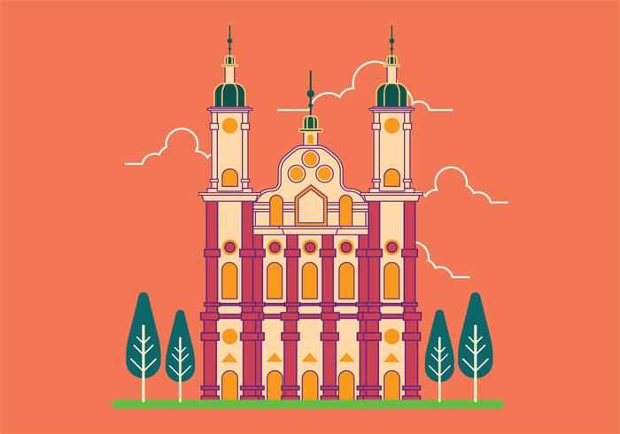 Vector Illustration of St. Gallen Abbey in Switzerland