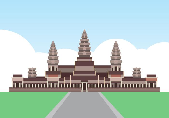 Angkor Wat Kambodja Landmark Illustration