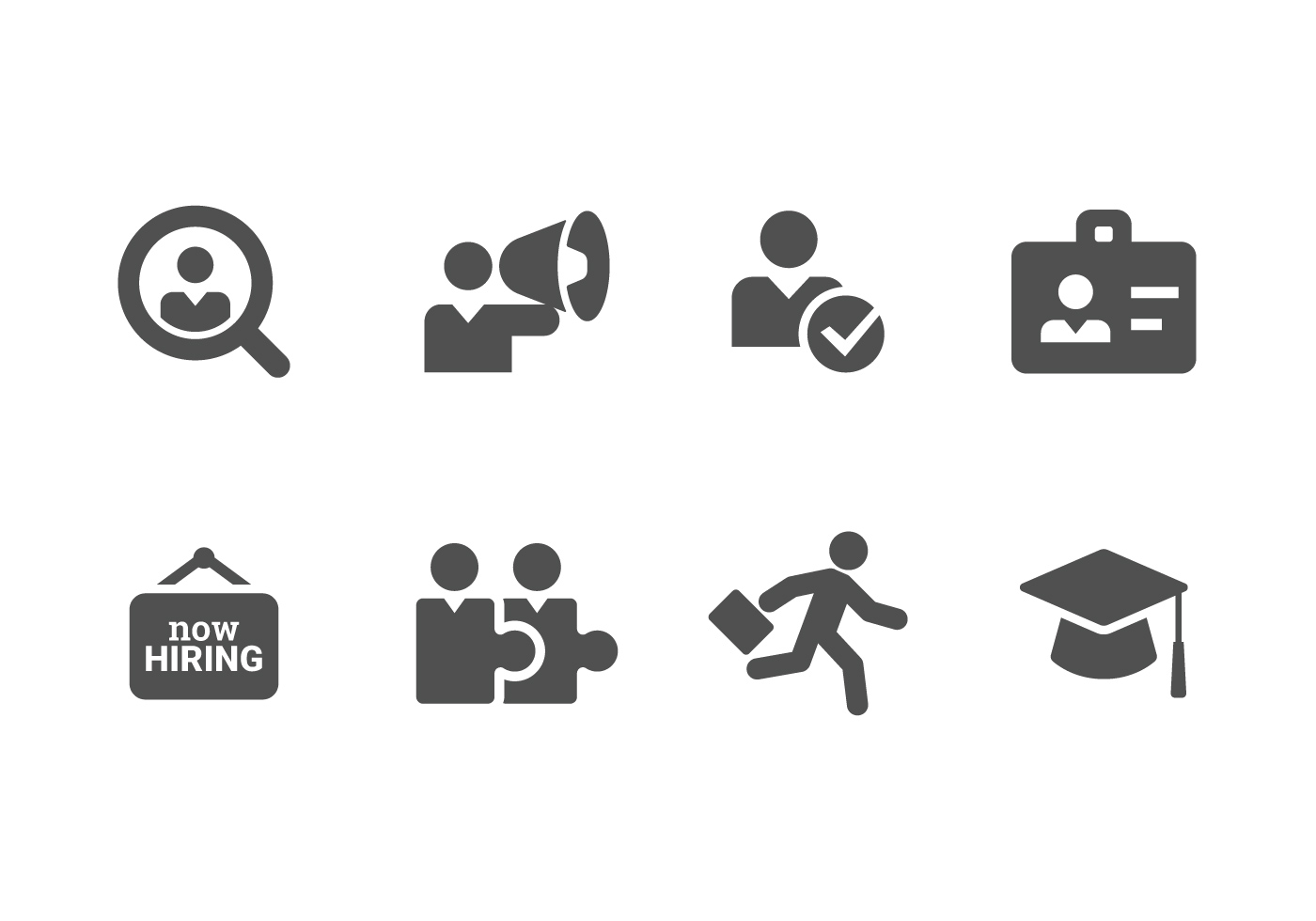 Now Hiring Amp Recruitment Set Icons Download Free Vectors