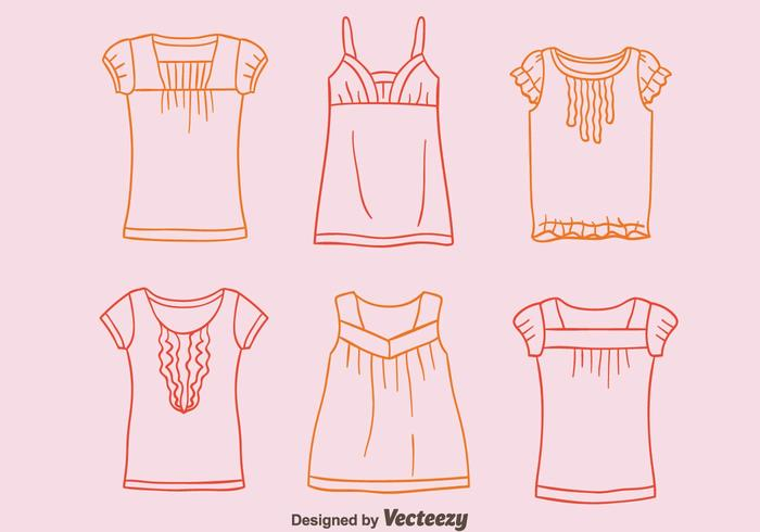 Sketch Shirt with frills collection vector