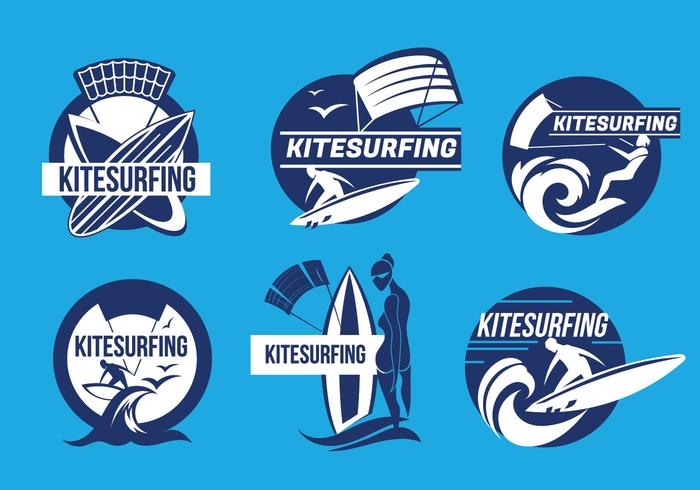 Set of Kiteboarding Fun in the Ocean Kitesurfing Label Vectors