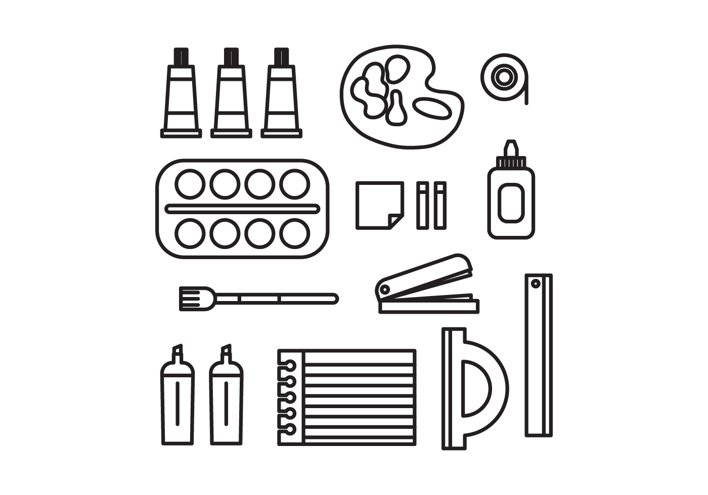 Set Of Tools For Artists Vectors - Download Free Vector ...
