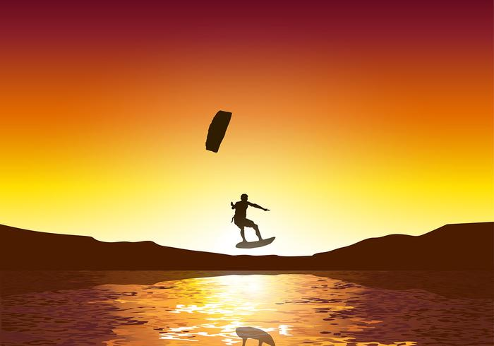 Kitesurfing Sunset Free Vector