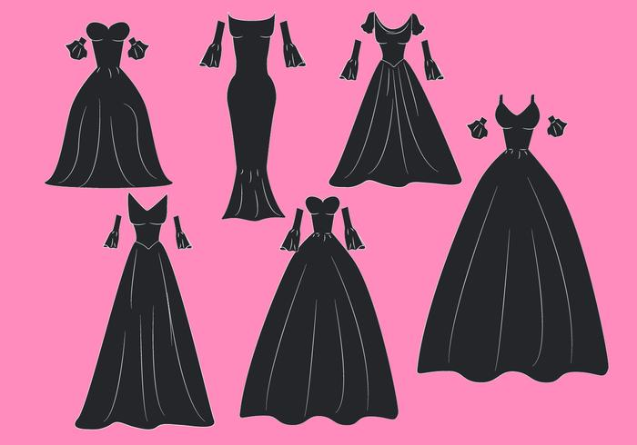 Flat Gown Isolated Vectors